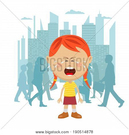 Little girl lost in the city crying in front of a crowd of people passing by