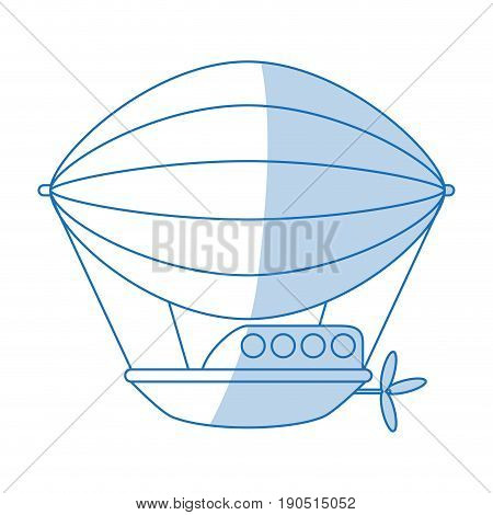 Flat line monocromatic dirigible design over white background vector illustration