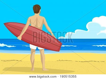 Back view of young man with a surfboard looking into the distance with copyspace for text