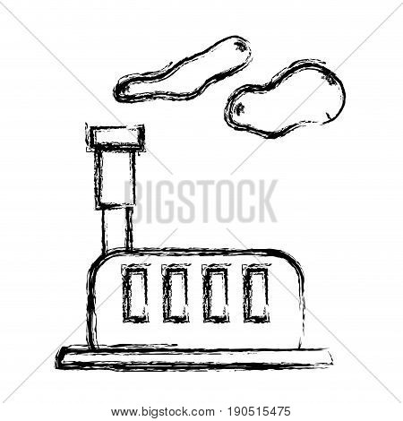figure industrial factory with pollution contamination of environment vector illustration