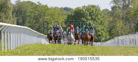 STOCKHOLM SWEDEN - JUNE 06 2017: Tough fight between colorful jockeys riding gallop arabian race horses forest in background at Nationaldags Galoppen at Gardet. June 6 2017 in Stockholm Sweden