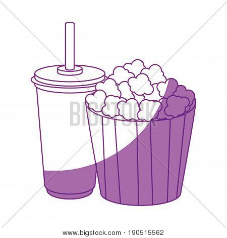pop corn bucket and drink cup icon over white background vector illustration