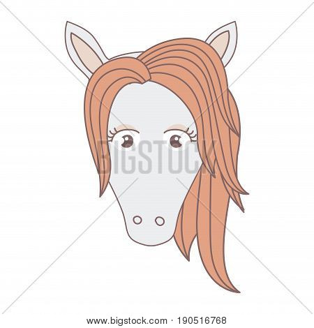 light colors of front face of female horse with mane vector illustration