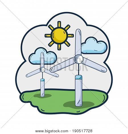 windpower industries to healp the environment vector illustration