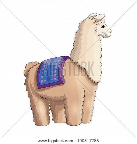 Fluffy lama ready to ride some kids, cartoon illustration, EPS10
