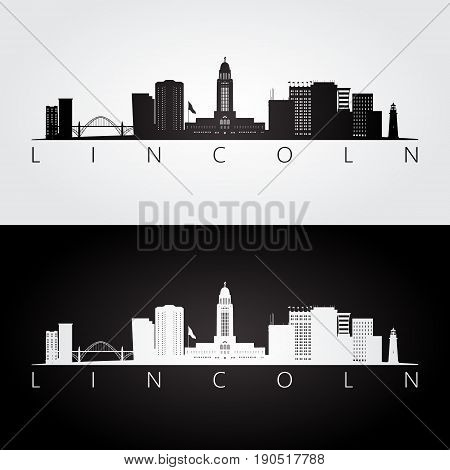 Lincoln USA skyline and landmarks silhouette black and white design vector illustration.