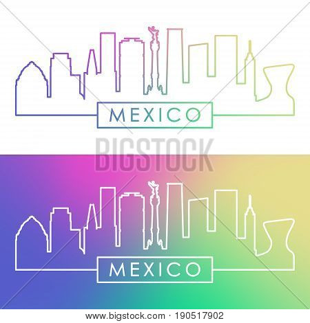 Mexico skyline. Colorful linear style. Editable vector file.
