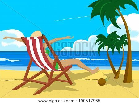 Woman with her arms wide open sitting in a deck chair on the tropical beach with palm trees looking into the distance