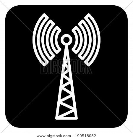 Sign of communication tower on a dark background.