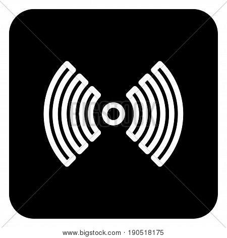 A wireless network icon on a dark background.