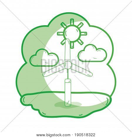 silhouette windpower industries to healp the environment vector illustration