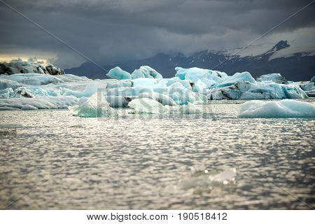 icebergs in the glacial lake Jokulsarlon in Iceland