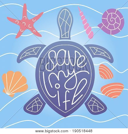 Rare tortoise & turtle species life & health care & protection poster/card design with motivational