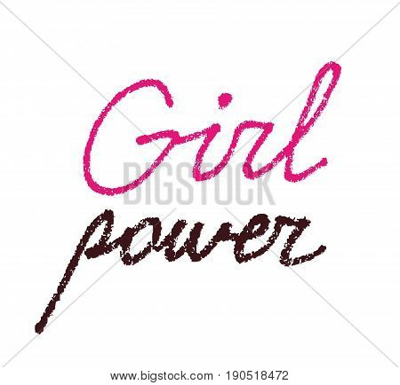Girl power textured lettering isolated on white background. Feminist statement woman rights support female empowerment against discrimination. International Women's Day design March 8 calligraphy.