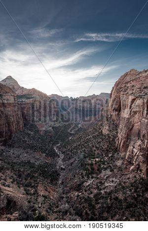 Cirrus Clouds Above Zion Canyon