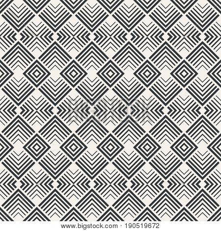Vector seamless pattern. Infinitely repeating stylish modern texture consisting of geometrical tiles with corner strips rhombuses diamonds. Contemporary design