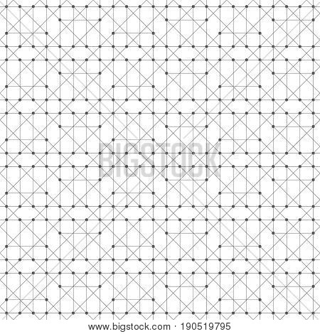 Seamless pattern. Abstract geometrical background. Original linear techno texture with repeating thin lines dots triangle shapes. Vector element of Business concept