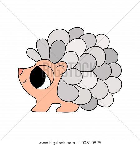 Baby animal. Childish cartoon style funny and cute smiling little hedgehog with big eyes and stylized rounded spikes isolated on white background. Colorful illustration with thin black outline.