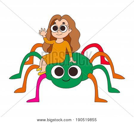 Couple of happy smiling friends. Two fairytale cartoon characters. Little girl in a yellow dress waving her hand sitting on a big bright multicolored spider. Cute comic style. Greeting card design.