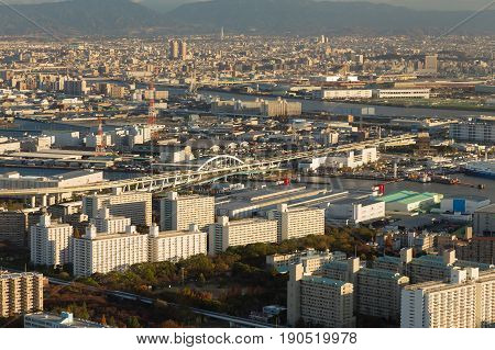 City central business downtown aerial view Osaka cityscape downtown Japan