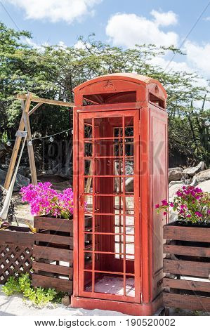Red Phone Booth in Tropics of Aruba