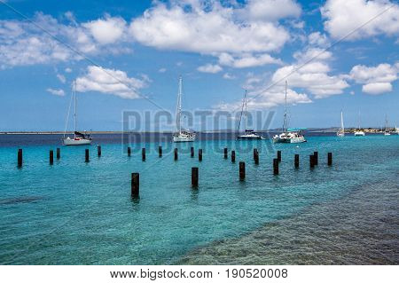 Many Sailboats Moored in Bonaire by Posts