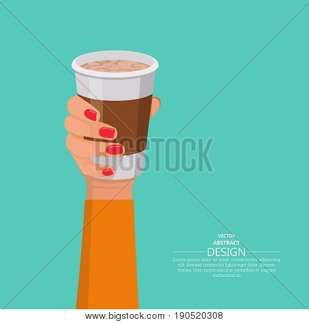 The female hand holds a glass with coffee.Fast food.Design elements in 3D style.Vector illustration in flat style.Break for coffee.