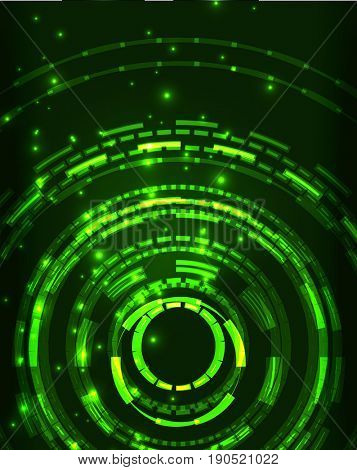 Neon green circles abstract pattern background