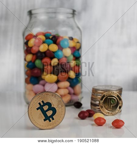 Gold Bitcoin Coin And Peercoin
