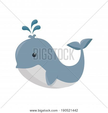 whale toy icon over white background vector illustration