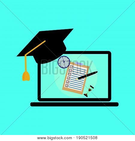 School exam test results on laptop screen with graduation hat cap. Education flat icon set for flyer poster web site like test pen clock and hourglass.