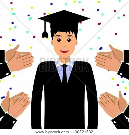 Smiling graduate student wearing graduation hat. Hands clap applaud graduate. Education approval good job concept. Flat style design illustration.
