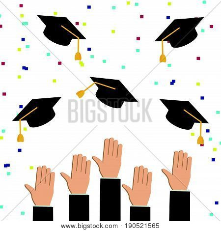 Concept of education. Graduates or businessman hands throwing graduation hats (caps) in the air. Congratulations on graduation.