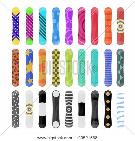 Snowboard set isolated on white background. Boards in different colors and abstract patterns. Colorful icons. Vector illustration in flat style.