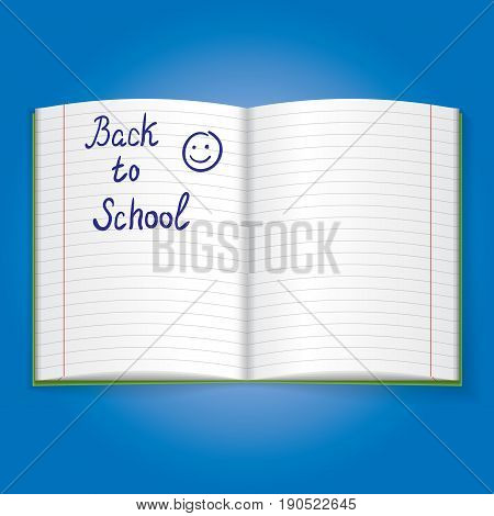 Realistic Object Icon with school exercise book isolated on blue background vector illustration