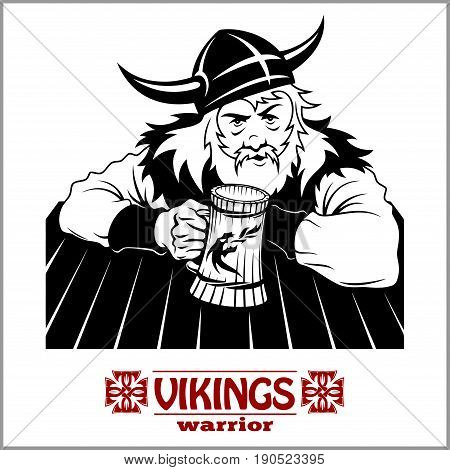 Viking The cheerful Viking with beer mug in hand - vector illustration isolated on white
