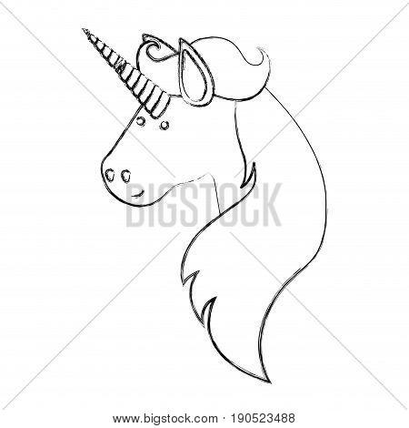 monochrome blurred silhouette of face side view of male unicorn and long mane vector illustration