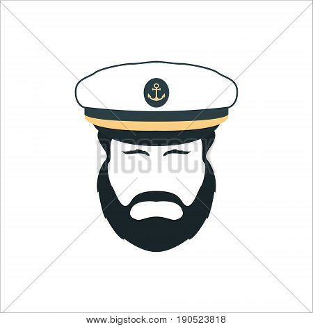 Captain Face Silhouette.Skipper in a Hat Emblem. Bearded Seaman Head Sign. Vector Logo Template.