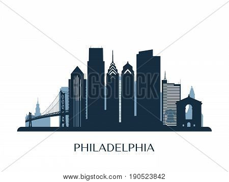 Philadelphia skyline, monochrome color silhouette. Vector illustration.