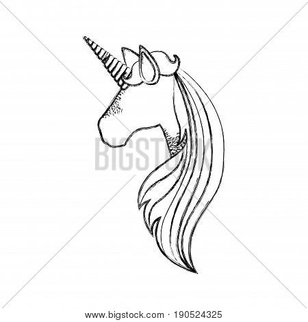 monochrome blurred silhouette of faceless side view of unicorn and long striped mane vector illustration
