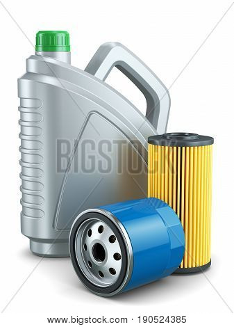 Car Oil Filters And Motor Oil Plastic Can