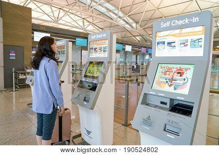 SEOUL, SOUTH KOREA - CIRCA JUNE, 2017: self check-in kiosks at Incheon International Airport.