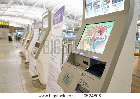 SEOUL, SOUTH KOREA - CIRCA MAY, 2017: self check-in kiosks at Incheon International Airport.