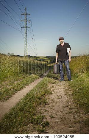 Criminologist technician coming on location of investigation