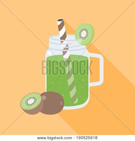 kiwi smoothie in mason jar, flat design vector