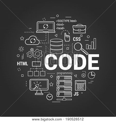 Vector linear concept for programming and coding. Round banner with letters - CODE and many web development and server icons on a black chalkboard