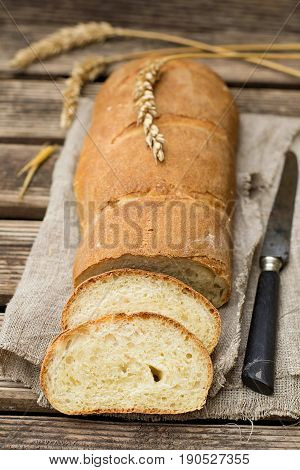Homemade white wheat bread made of whey buttermilk