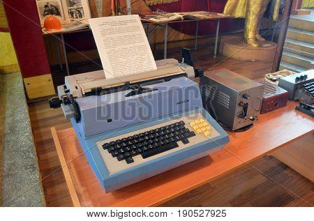 Soviet vintage Typewriter of 1970-80th.Museum of former Soviet  anti-ballistic missile testing range Sary Shagan.May 7, 2017.Priozersk.Kazakhstan
