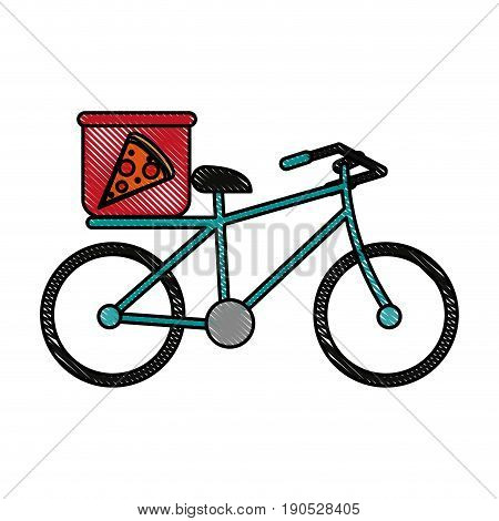 pizza bycicle flat illustration icon vector design graphic scribble