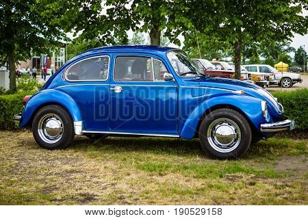 PAAREN IM GLIEN GERMANY - JUNE 03 2017: Economy car Volkswagen Beetle 1973. Exhibition